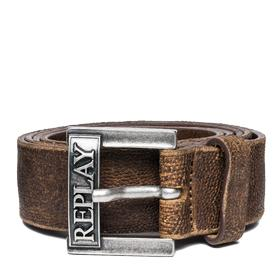 Men's embossed leather belt with logo am2459.000.a3154