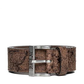Washed sioux leather belt am2471.000.a3002c