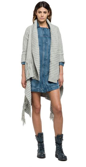 Fringed cardigan with shawl collar dk2174.000.g22462