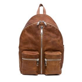 Distressed leather backpack with two-way zip fm3291.001.a3127