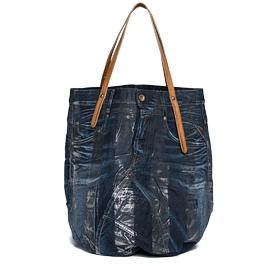 Washed denim and leather bag fw3329.008.a0181a