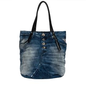 Denim bag with leather handles fw3637.005.a0181a