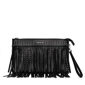 Fringed faux leather clutch with studs fw3657.000.a0157a
