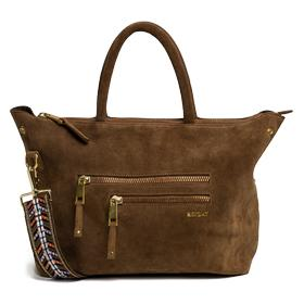 Leather bag with patterned shoulder strap fw3674.001.a3054