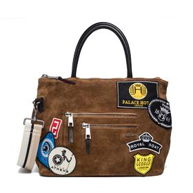 Suede bag with patches fw3674.003.a3054