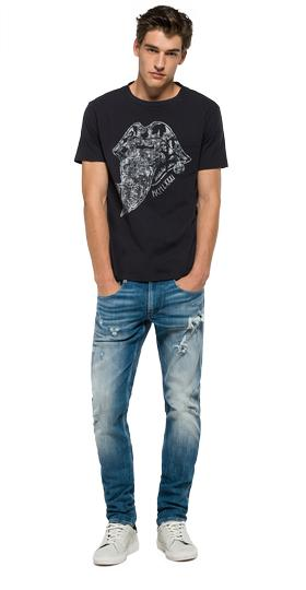 Printed T-shirt with chest pocket m3202 .000.22338