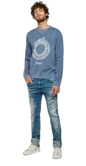 Cracked print cotton sweatshirt m3290b.000.22392
