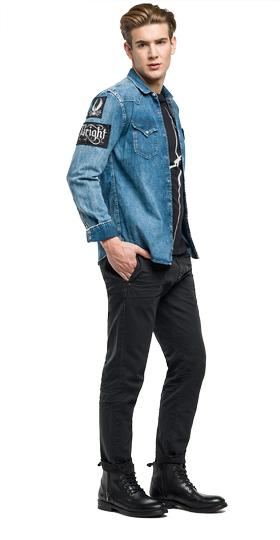 Denim shirt with patches m4860j.000.404 102