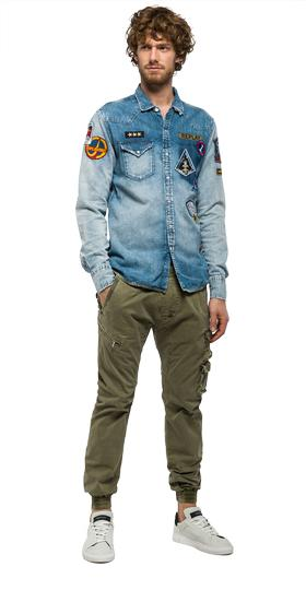 Denim shirt with patches m4860v.000.404 91c