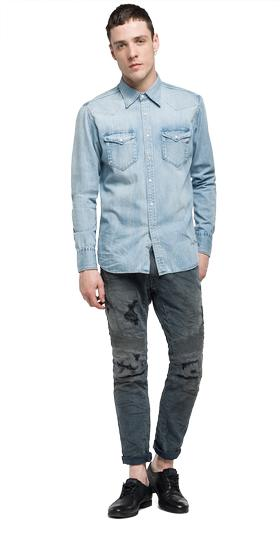 Deep blue denim shirt m4981 .000.26c 110