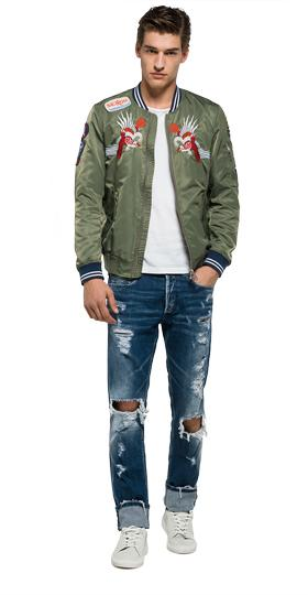 Nylon jacket with patches m8826r.000.82504