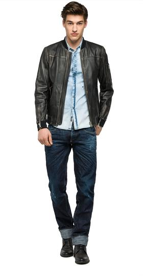 Sprayed leather jacket with ribbed details m8834 .000.82246n