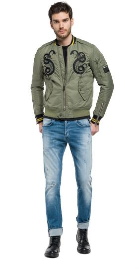 Bomber jacket with patches m8868r.000.82834