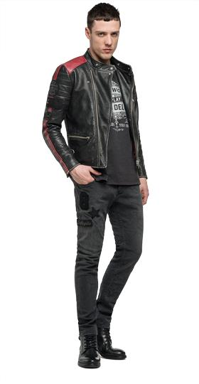 Leather biker jacket with patches m8891 .000.82930t
