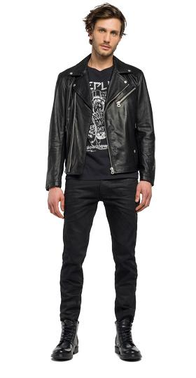Leather biker jacket with zip details m8892a.000.82926