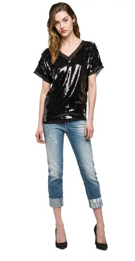 We are Replay embroidered blouse with sequins vd4392.000.v22420