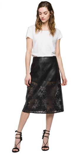 We are Replay lasered faux-leather skirt vd5237.000.v80497a