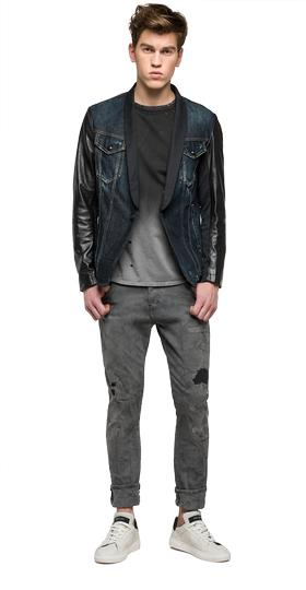 We are Replay denim and leather jacket vu3803.000.v10191