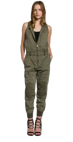 Zip-front cotton twill jumpsuit w1014 .000.82726