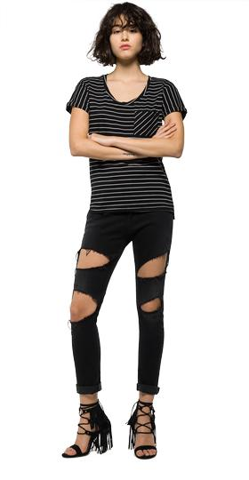 Striped T-shirt with chest pocket w3783c.000.51882