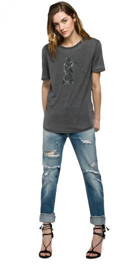 T-shirt with contrast print w3825 .000.22346