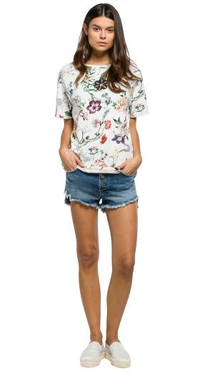 T-shirt with all-over floral print w3886e.000.71282