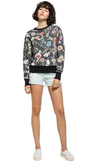 Floral-print sweatshirt with ripped details w3927 .000.71278