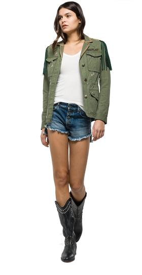 Jacket with suede fringes w7253e.000.82724
