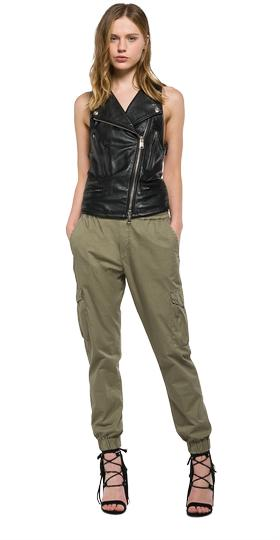 Leather vest with asymmetric fastening w7318 .000.82791