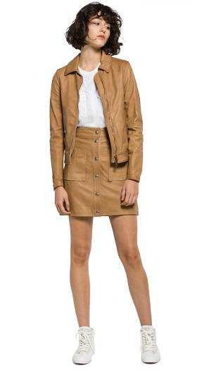 Classic collar leather jacket w7356 .000.82246