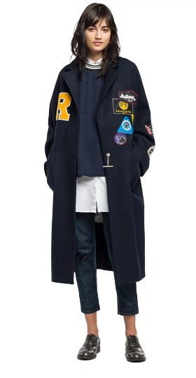 Coat with patches w7396 .000.82856