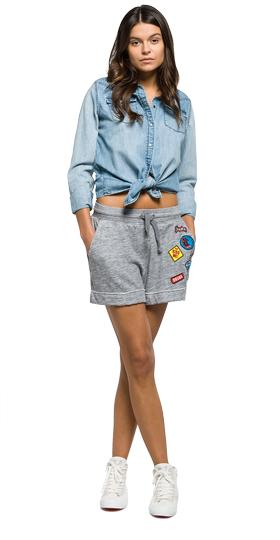 Fleece shorts with patches w8808 .000.22404