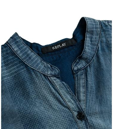 Indigo jacquard denim shirt replay for Indigo denim shirt womens