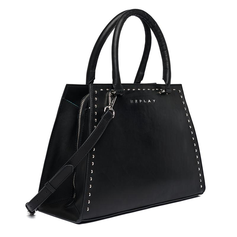 Replay Jeans - Trapeze-shaped bag with studs - 3