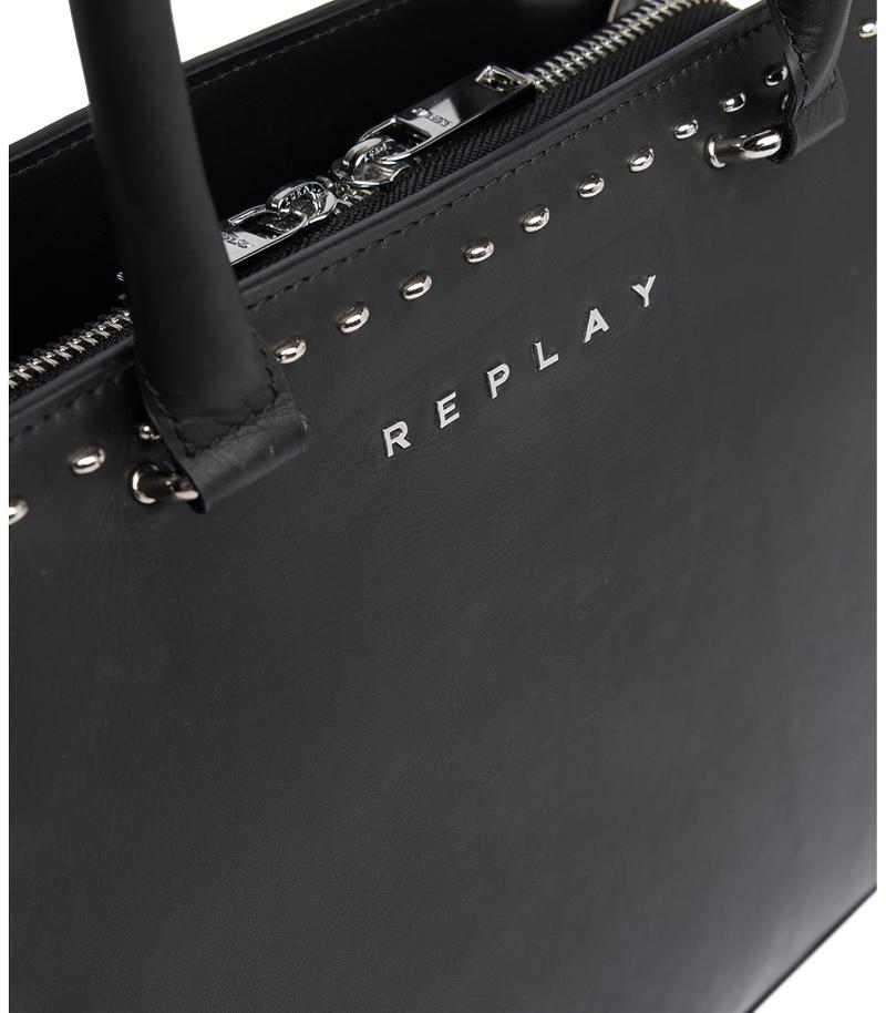Replay Jeans - Trapeze-shaped bag with studs - 4