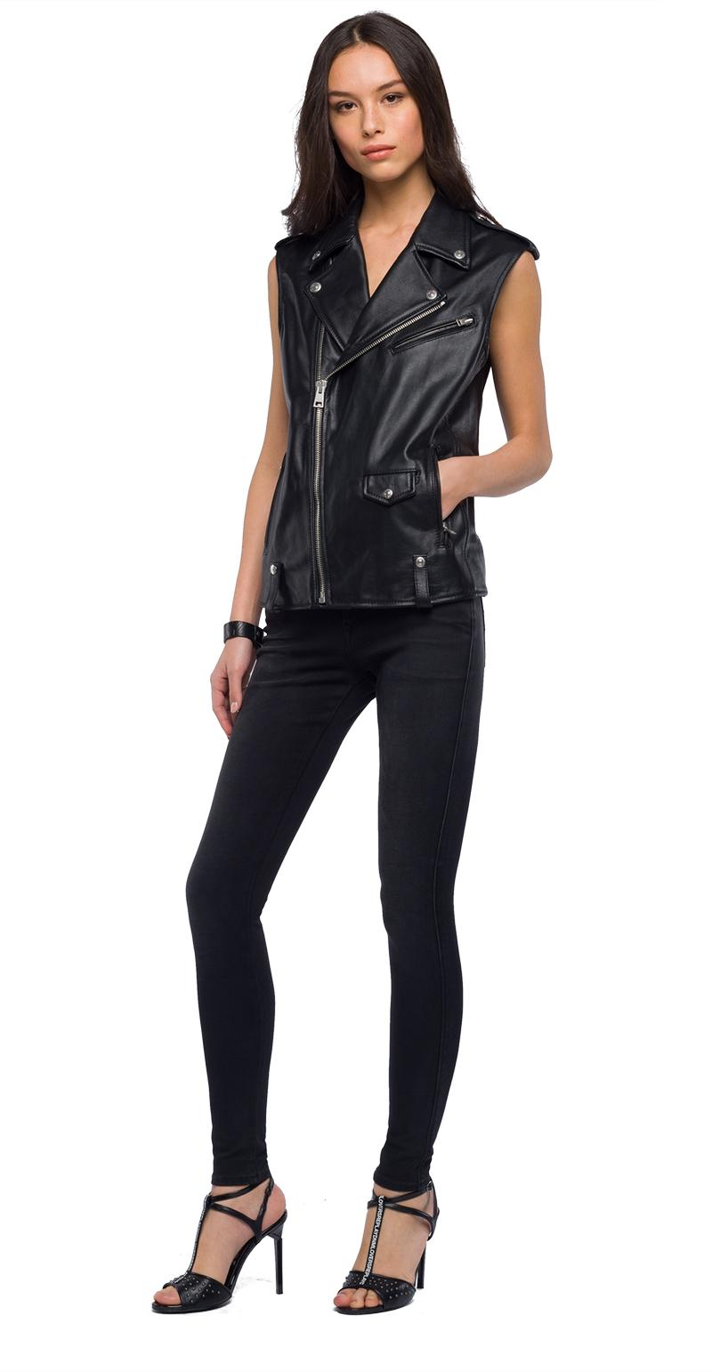 Replay Jeans - Sleeveless biker jacket in real leather - 1