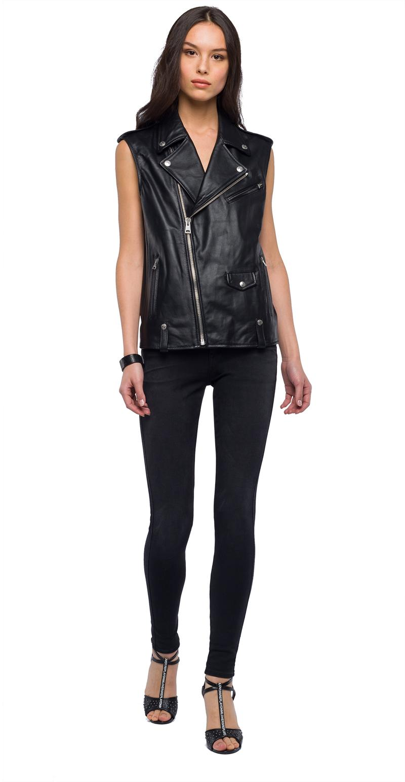 Replay Jeans - Sleeveless biker jacket in real leather - 2