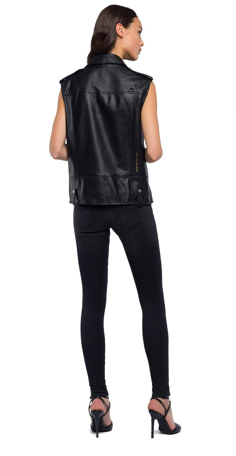 Replay Jeans - Sleeveless biker jacket in real leather - 3