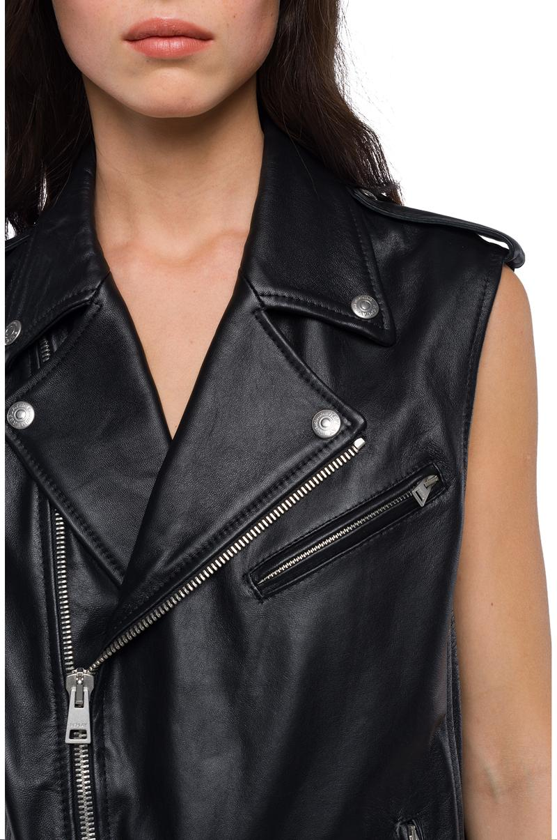 Replay Jeans - Sleeveless biker jacket in real leather - 5