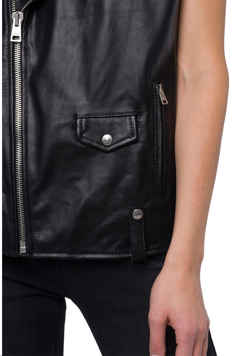 Replay Jeans - Sleeveless biker jacket in real leather - 6