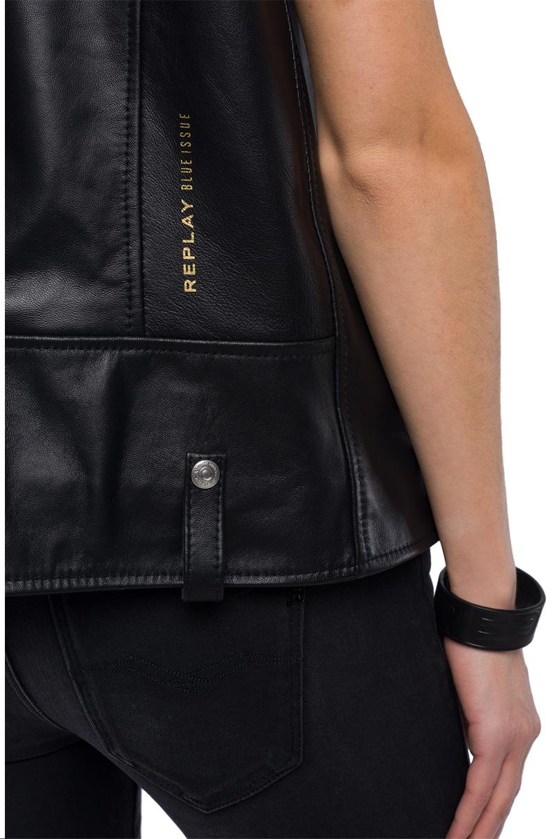 Replay Jeans - Sleeveless biker jacket in real leather - 7