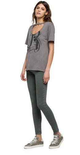 T-shirt with front opening w3941 .000.22336g