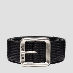 Belt with embossed pattern with squares