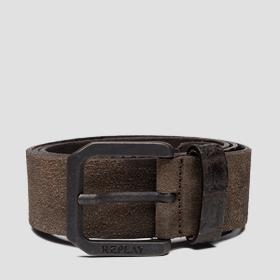 Leather belt with suede effect