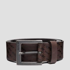 Brushed leather belt with all-over REPLAY writings