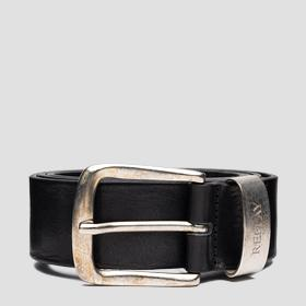 Leather belt with vintage effect