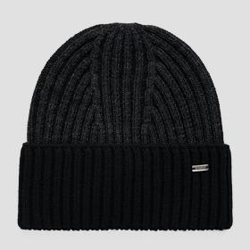 Wool blend beanie with turn-up