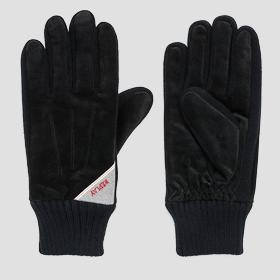 Suede and knit gloves