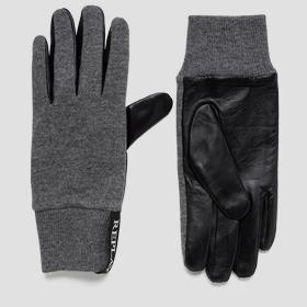 Wool and eco leather gloves