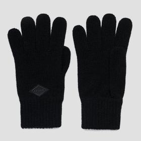 Solid-coloured knitted gloves